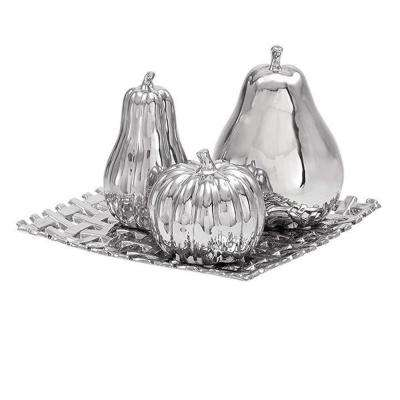 11 in. Square Ceramic Decorative Plate with Fruit in Silver