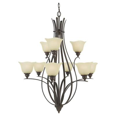 Morningside 9-Light Grecian Bronze Multi Tier Chandelier