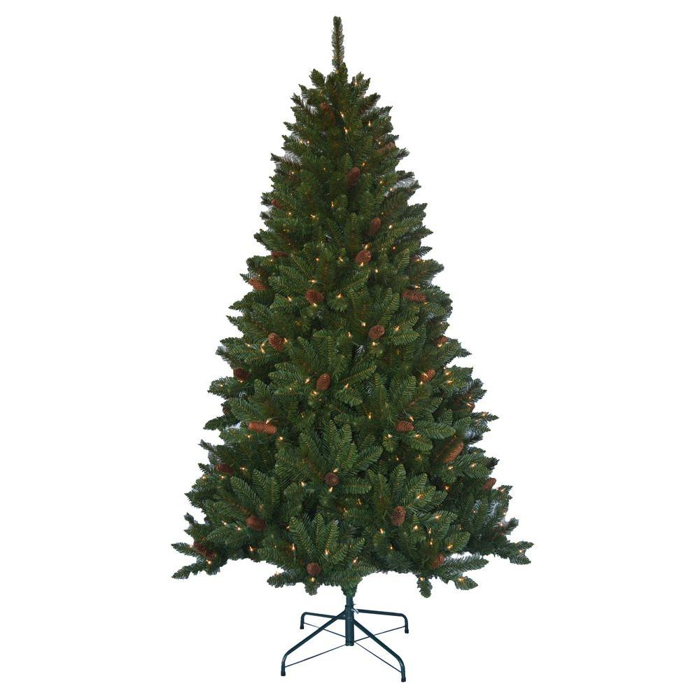 Home Accents Holiday 6 5 Ft Pre Lit Jackson Spruce Artificial  - Christmas Trees In Home Depot