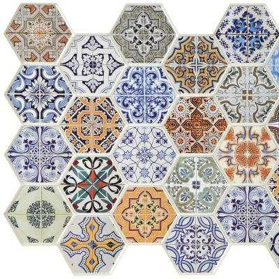 3D Falkirk Retro 10/1000 in. x 38 in. x 19 in. Multicolor Hexagon Patchwork Mosaic PVC Wall Panel