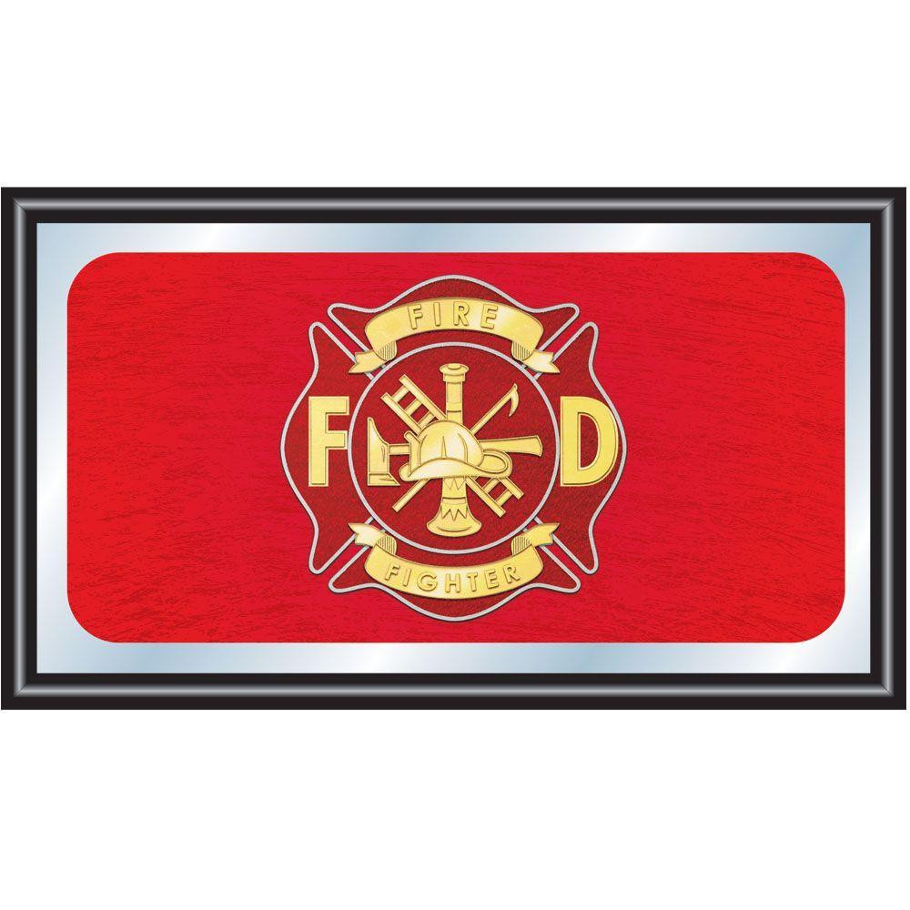 Fire Fighter 15 in. x 26 in. Black Wood Framed Mirror