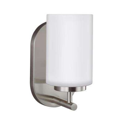 Oslo 1-Light Brushed Nickel Sconce with LED Bulb