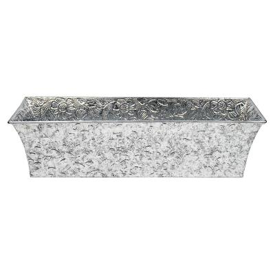 Embossed Floral Pattern Flower Box, 24 in. W Steel Finish
