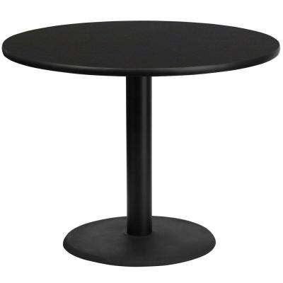 42 in. Round Black Laminate Table Top with 24 in. Round Table Height Base