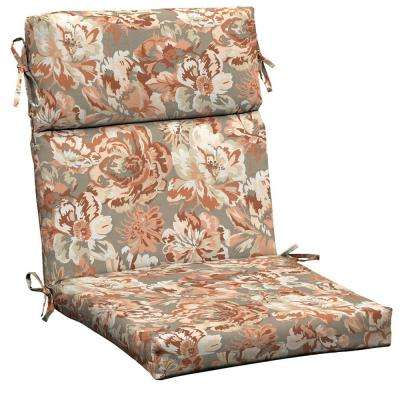 terracotta floral outdoor dining chair cushion