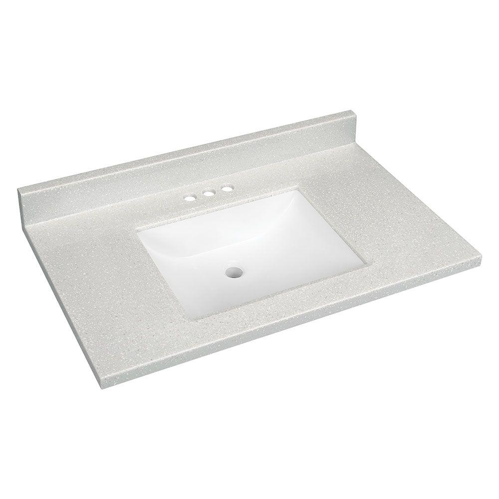 GlacierBay Glacier Bay 37 in. W Solid Surface Technology Vanity Top in Silver Fox with White Sink