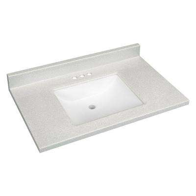 37 in. W Solid Surface Technology Vanity Top in Silver Fox with White Basin