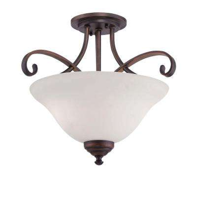 2-Light Rubbed Bronze Semi Flush Mount with Etched White Glass