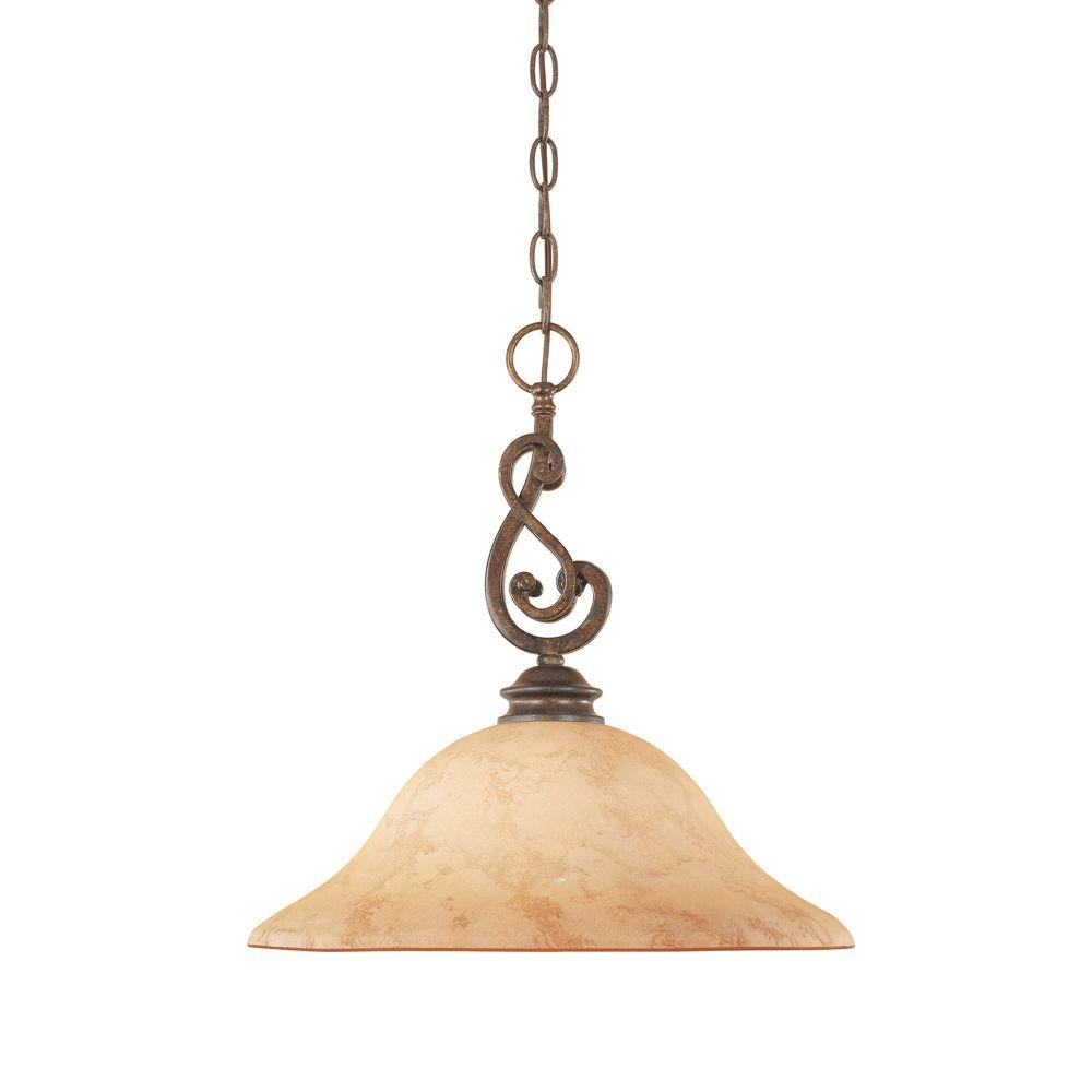 Vienna 1-Light Forged Sienna Hanging Pendant