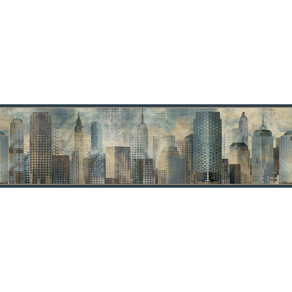 Blake Blue Skyline Blue Wallpaper Border