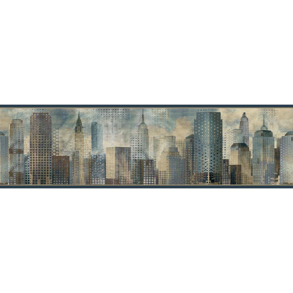 Blake Blue Skyline Blue Wallpaper Border