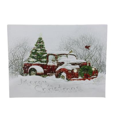 15.75 in. x 12 in. LED Fiber Optic Red Truck and Tree Christmas Canvas Wall Art