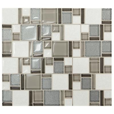 Premier Accents Silver Block 11 in. x 13 in. x 8 mm Glass and Porcelain Mosaic Wall Tile (1.06 sq. ft. / piece)