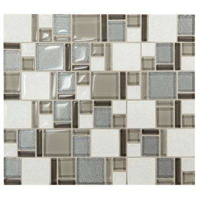 Premier Accents Silver Block 11 in. x 13 in. x 8 mm Glass and Porcelain Mosaic Tile