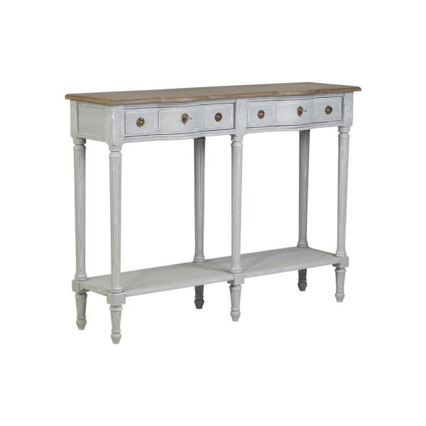 Julieth White Console Table with Bayur Wood