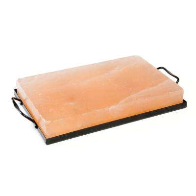 12 in. x 8 in. Himalayan Salt Plate and Holder Set