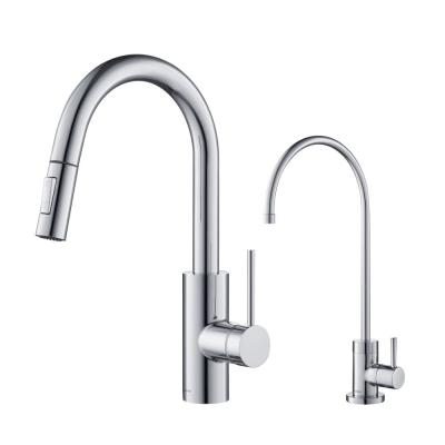 Oletto 1-Handle Pull-Down Kitchen Faucet and Purita Water Filtration Faucet in Chrome
