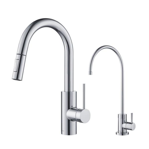 Kraus Oletto 1 Handle Pull Down Kitchen Faucet And Purita Water Filtration Faucet In Chrome Kpf 2620 Ff 100ch The Home Depot