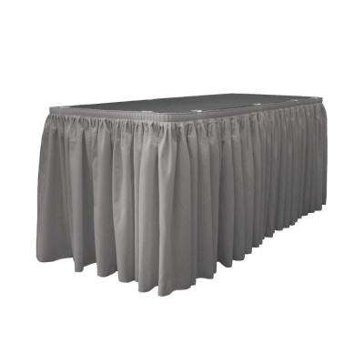 14 ft. x 29 in. Long Dark Gray Polyester Poplin Table Skirt with 10 L-Clips