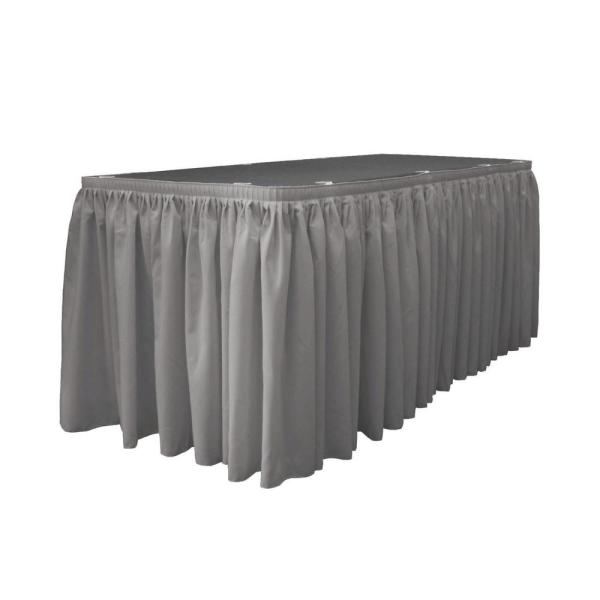 30 ft. x 29 in. L with 15-Large Clips Dark Gray Polyester Poplin Table Skirt