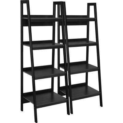 Ritter Black 4-Shelf Ladder Bookcase Bundle (Set of 2)