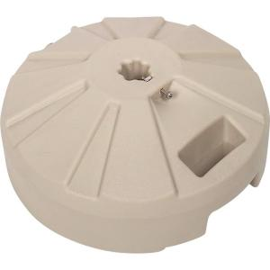 plastic patio umbrella base in beige