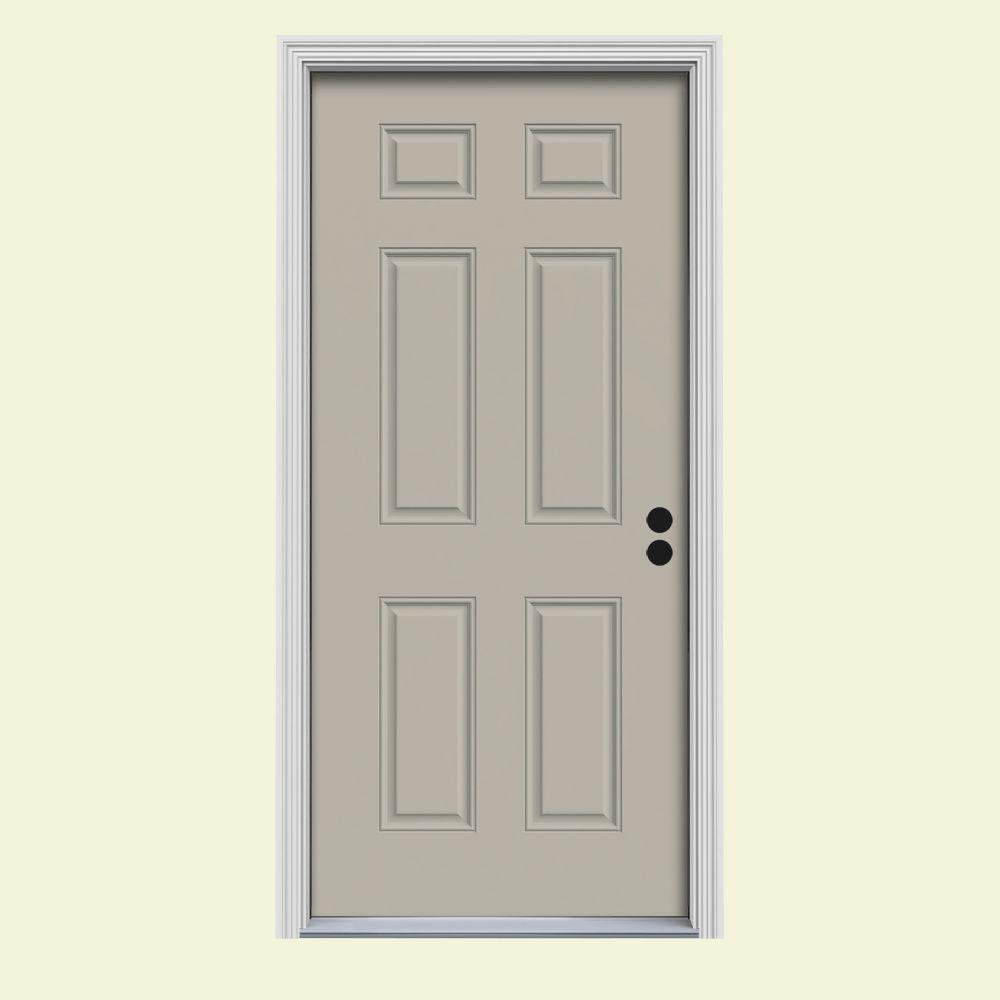 JELD-WEN 30 in. x 80 in. 6-Panel Desert Sand Painted Steel Prehung Left-Hand Inswing Front Door w/Brickmould