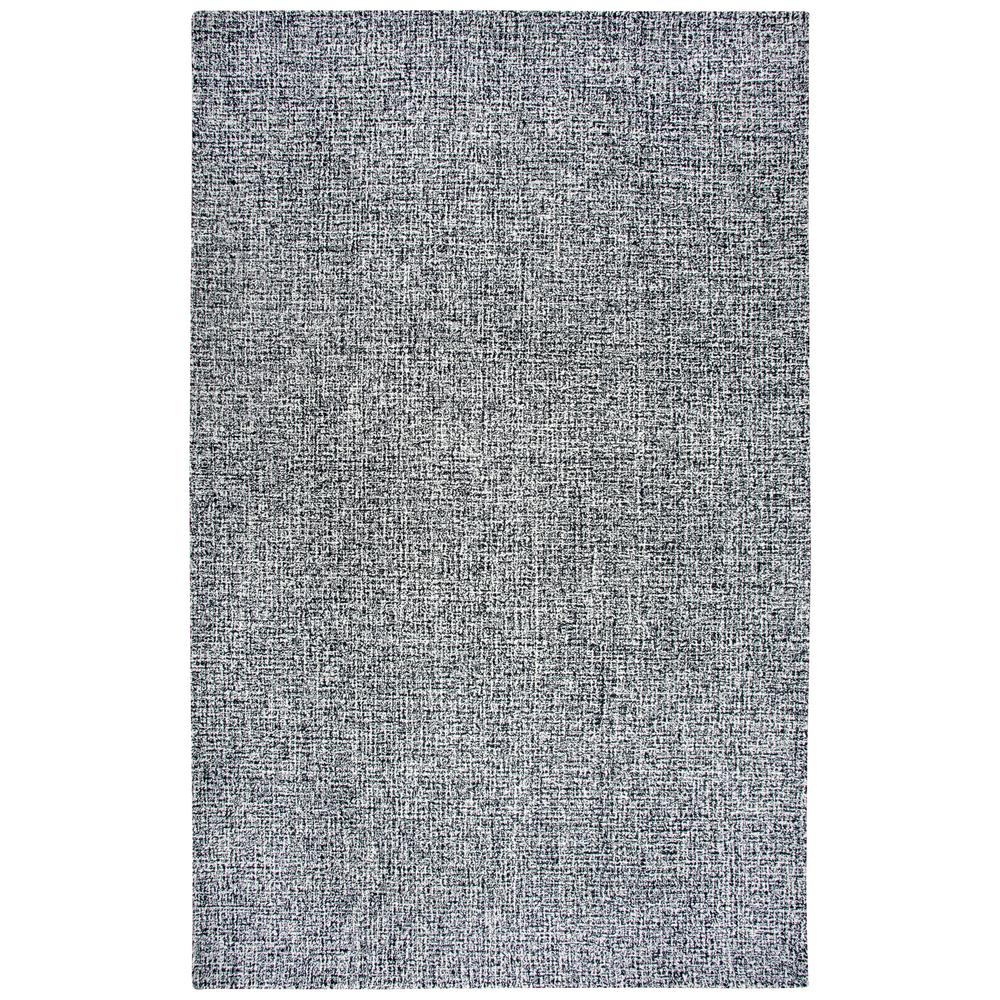 London Collection Black White 100 Wool 5 Ft X 8 Hand Tufted Tweed Area Rug