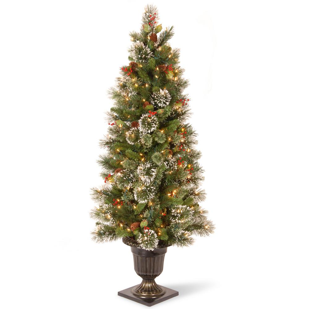 national tree company 5 ft wintry pine entrance artificial christmas tree with clear lights