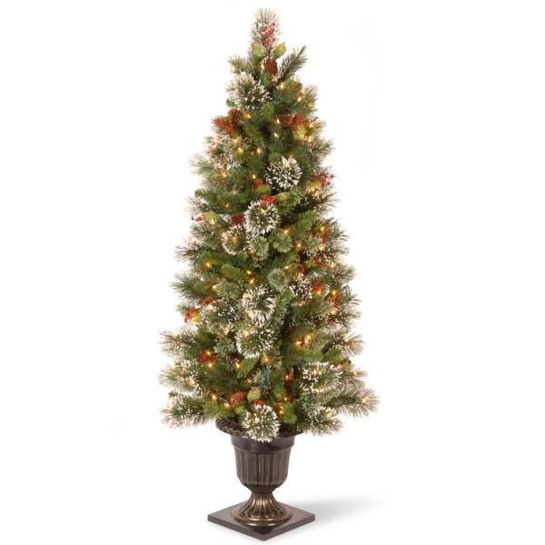5 ft. Wintry Pine Entrance Artificial Christmas Tree with Clear Lights