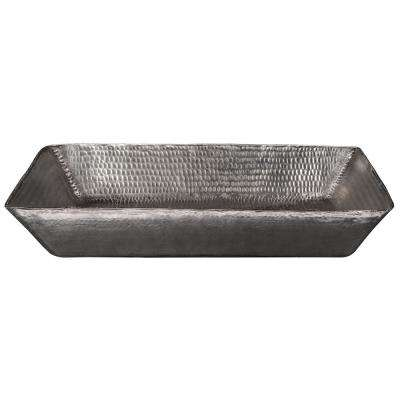 Rectangle 14 in. Hammered Copper Vessel Sink in Nickel