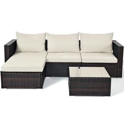 Outdoor 5-Piece Wicker Sectional Set Conversation Sofa with White Cushion