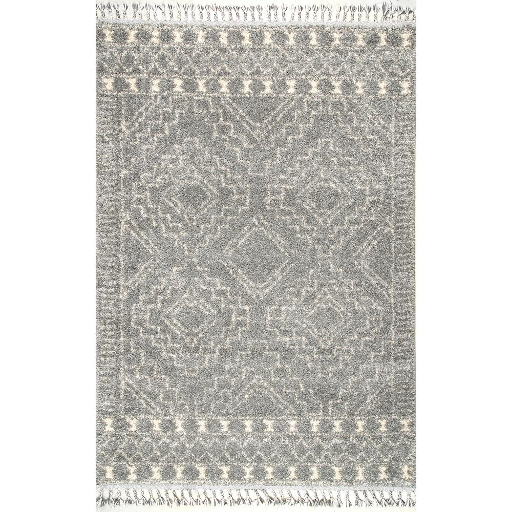 NuLOOM Vasiliki Moroccan Tribal Tassel Silver 7 Ft. 10 In