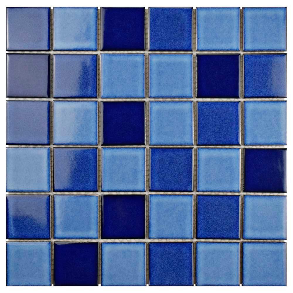 Oceania Quad Marine 11-7/8 in. x 11-7/8 in. x 6 mm Porcelain Mosaic Tile