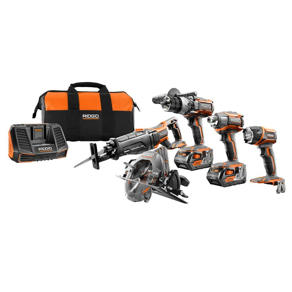 RIDGID 18-Volt Lithium-Ion Cordless 5-Tool Combo Kit with (2) 4.0 Ah Batteries, 18-Volt Charger, and Contractor's Bag