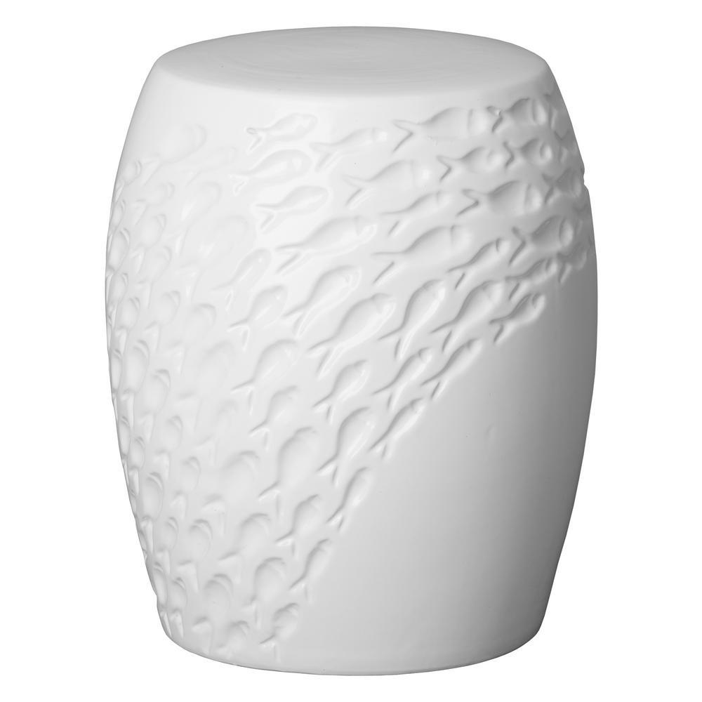 Fish White Ceramic Garden Stool
