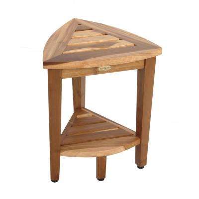 EarthyTeak Oasis Compact Teak Corner Shower Stool with Shelf