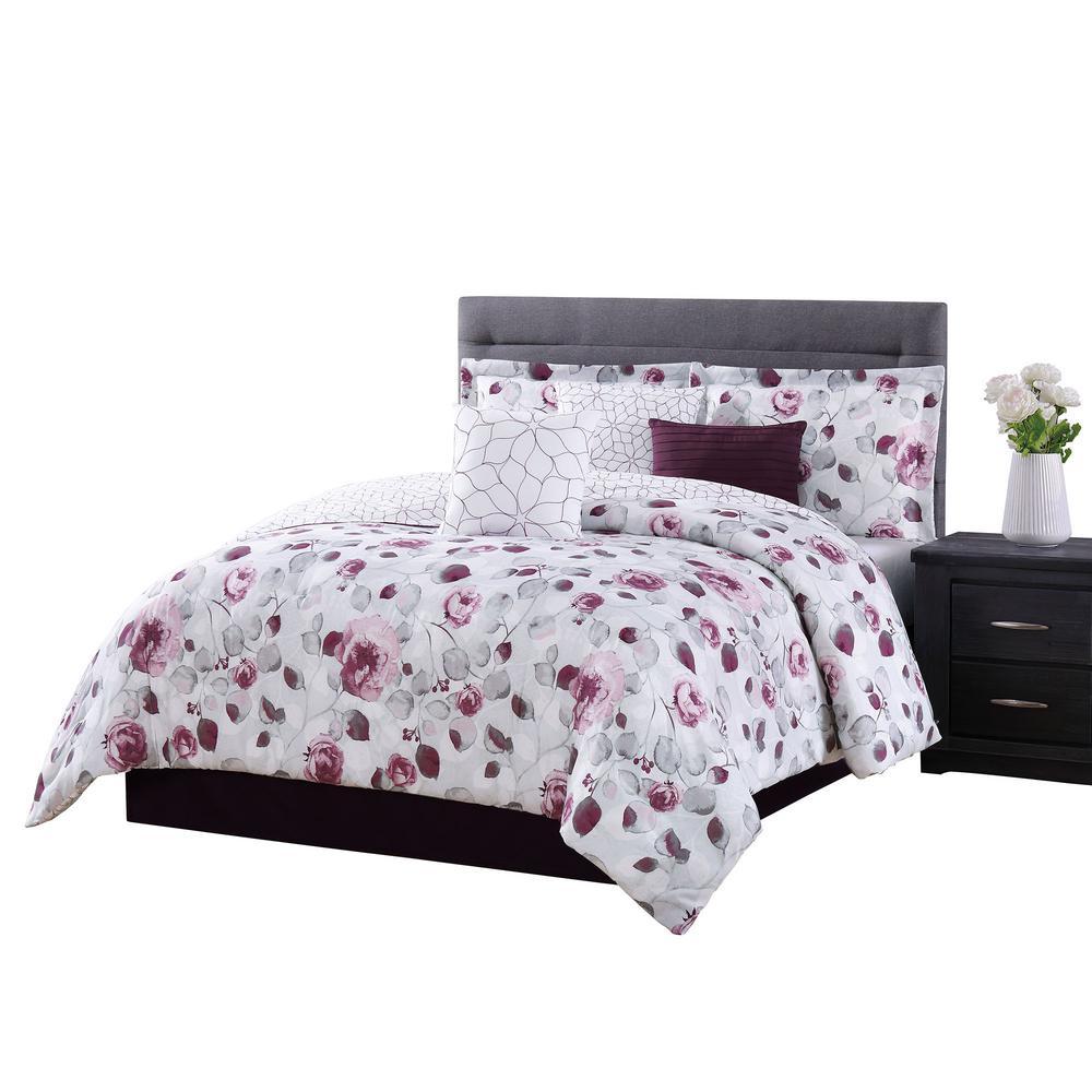 Graceview 7-Piece Grey/Burgundy Queen Comforter Set