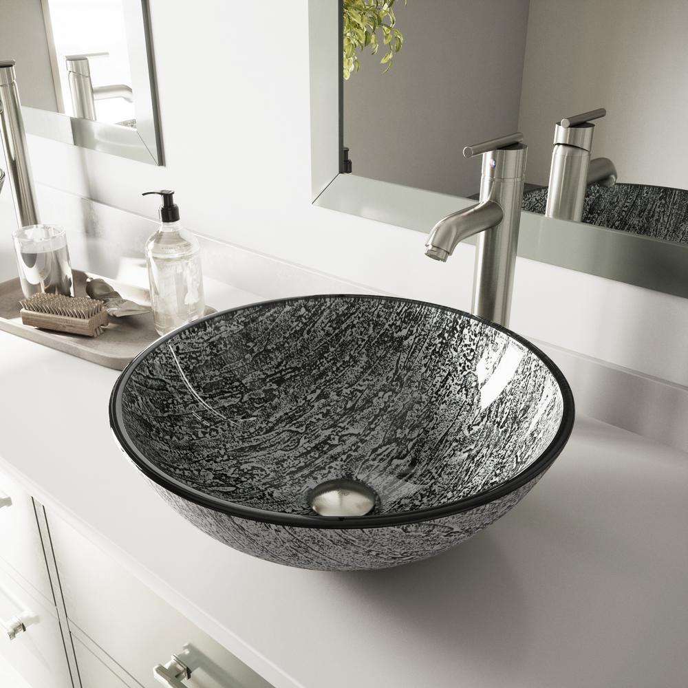 VIGO Glass Vessel Bathroom Sink in Titanium and Seville ...