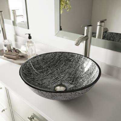 Glass Vessel Bathroom Sink in Titanium and Seville Faucet Set in Brushed Nickel