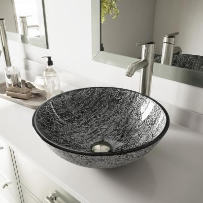 Glass Round Vessel Bathroom Sink in Titanium Gray with Seville Faucet and Pop-Up Drain in Brushed Nickel