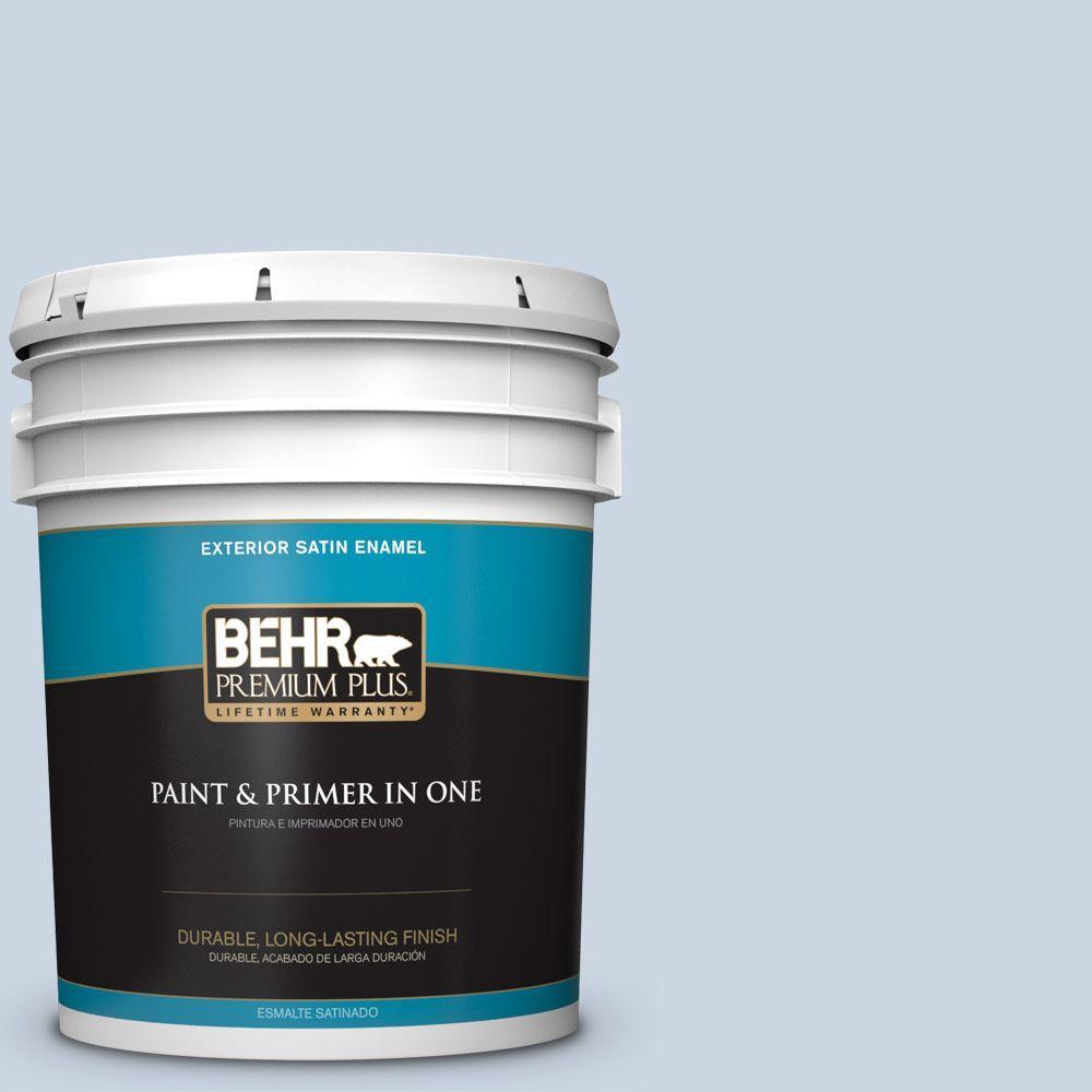 BEHR Premium Plus 5-gal. #icc-35 Blue Reflection Satin Enamel Exterior Paint