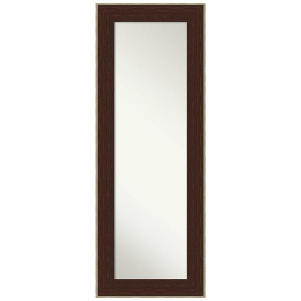 William 20.25 in. x 54.25 in. Casual Rectangle Framed Espresso Silver On the Door Mirror