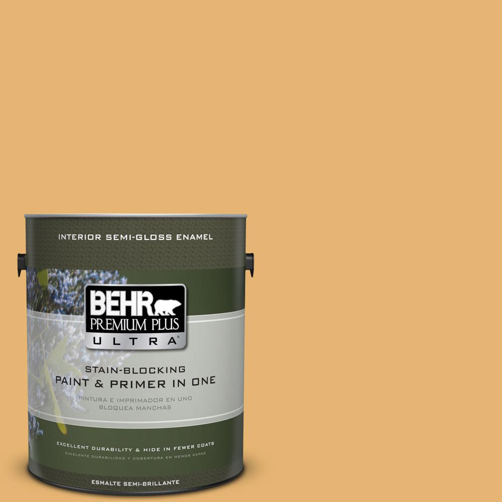 BEHR Premium Plus Ultra 1-gal. #PPU6-4 Pyramid Gold Semi-Gloss Enamel Interior Paint