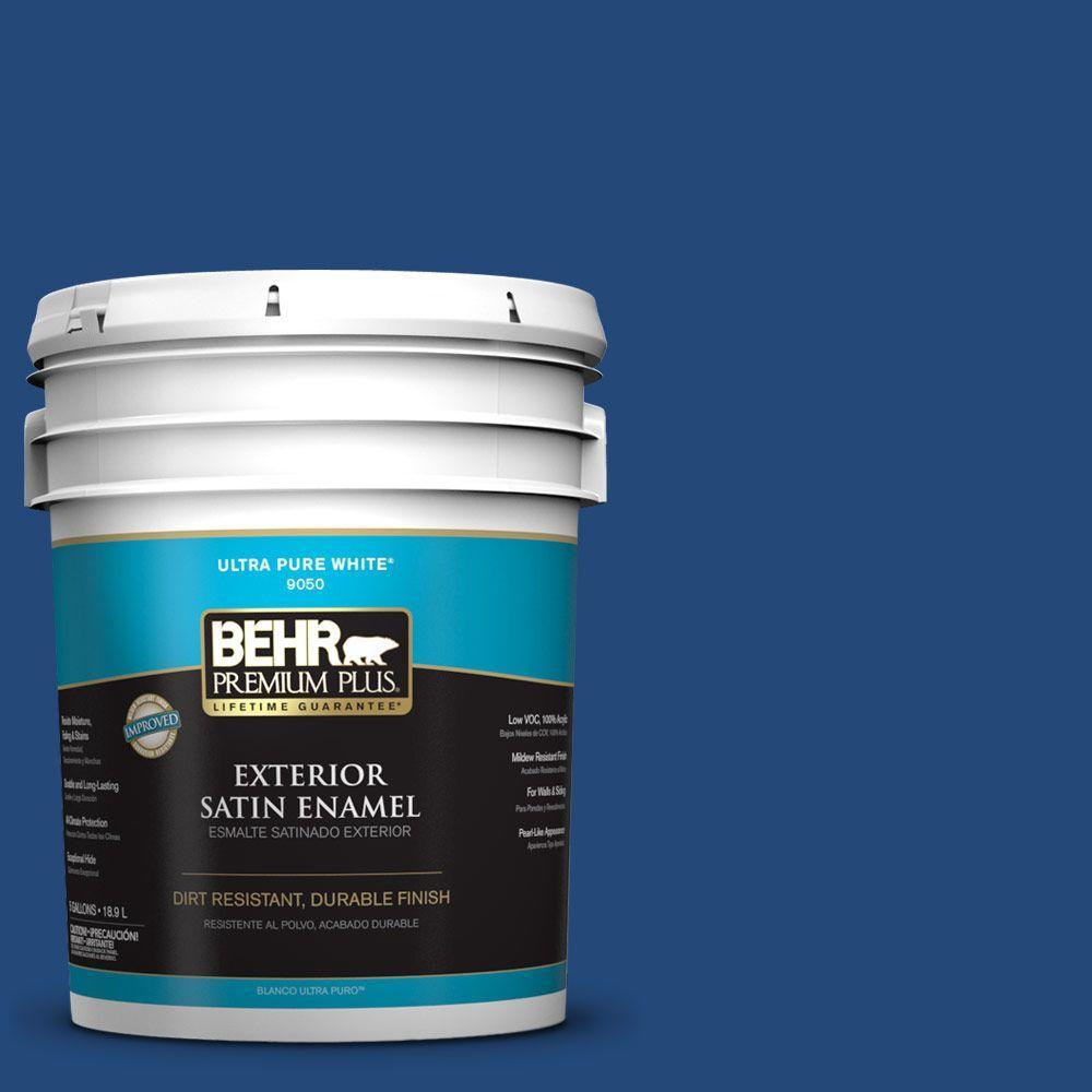 BEHR Premium Plus 5-gal. #S-H-590 Sailboat Satin Enamel Exterior Paint