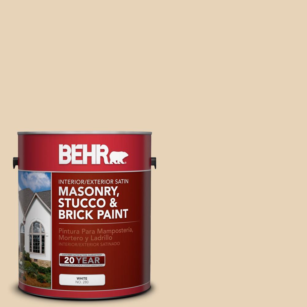 1 gal. #PPU7-18 Sand Pearl Satin Interior/Exterior Masonry, Stucco and Brick Paint