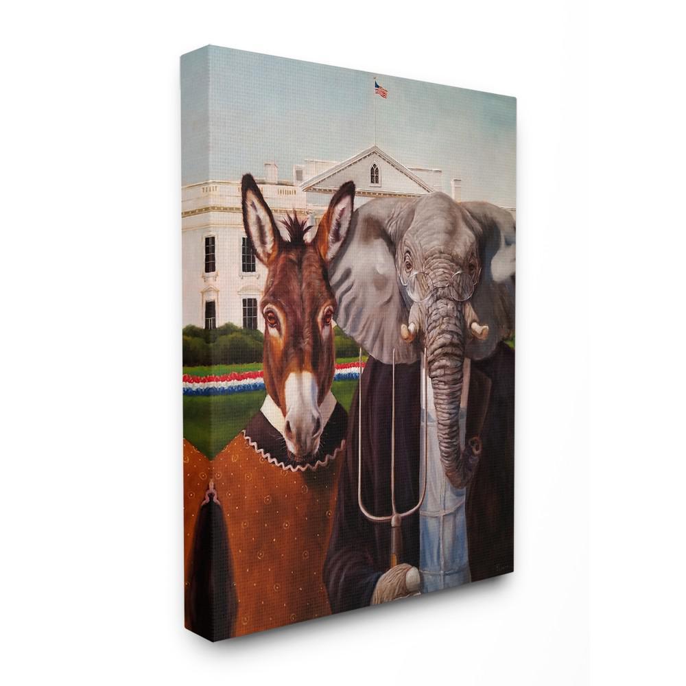 "16 in. x 20 in. ""Political Satire American Gothic Farm Animal Painting"" by Lucia Heffernan Canvas Wall Art"