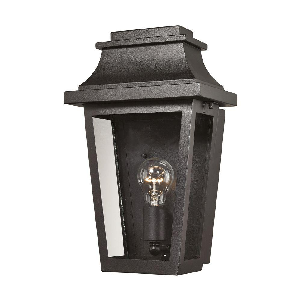 Titan lighting cape ann 1 light outdoor matte textured black sconce tn 50181 the home depot for Black exterior sconce