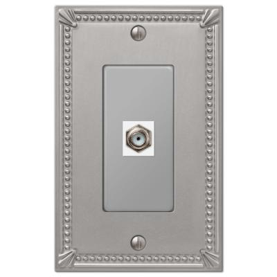 Imperial Bead 1 Gang Coax Metal Wall Plate - Brushed Nickel