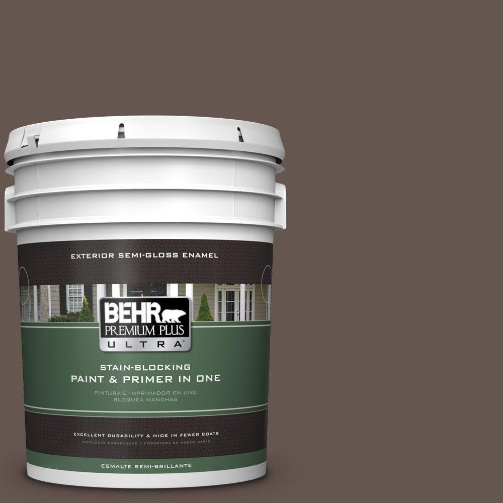 BEHR Premium Plus Ultra 5-gal. #BNC-33 Harvest Oak Semi-Gloss Enamel Exterior Paint